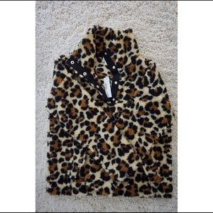 J Crew S Leopard Snap Collar Sherpa Pullover